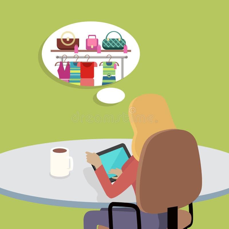 Kobieta Pracuje z pastylka komputerem w biurze royalty ilustracja