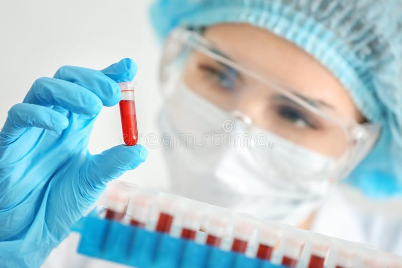 Kobieta pracuje z próbkami krwi w próbnych tubkach, zbliżenie zdjęcie royalty free