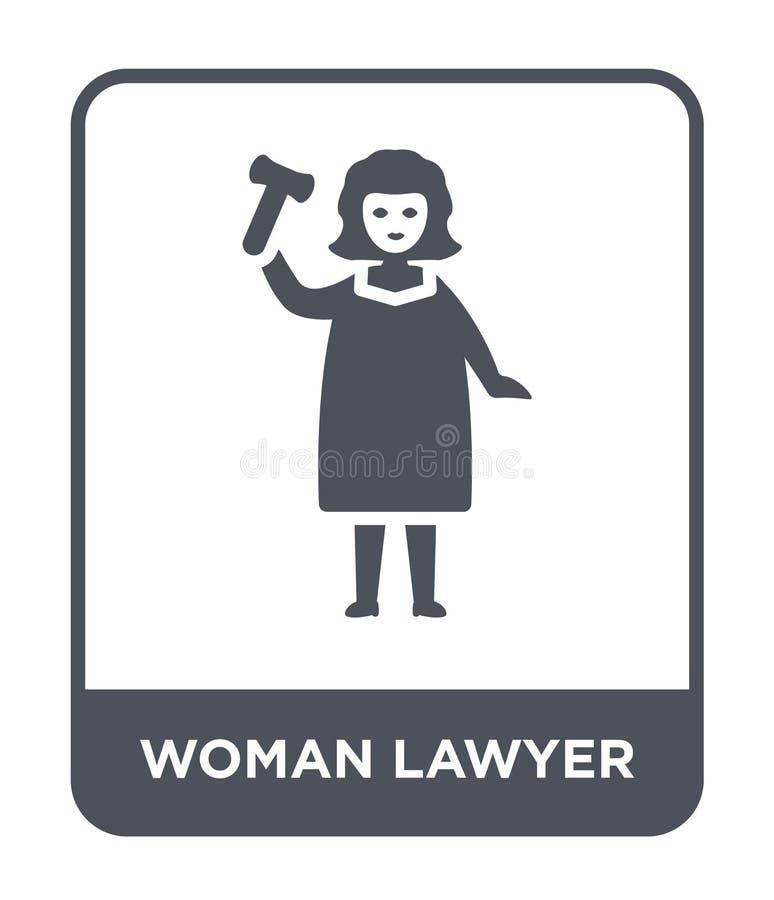 kobieta prawnika ikona w modnym projekta stylu kobieta prawnika ikona odizolowywająca na białym tle kobieta prawnika wektorowa ik royalty ilustracja