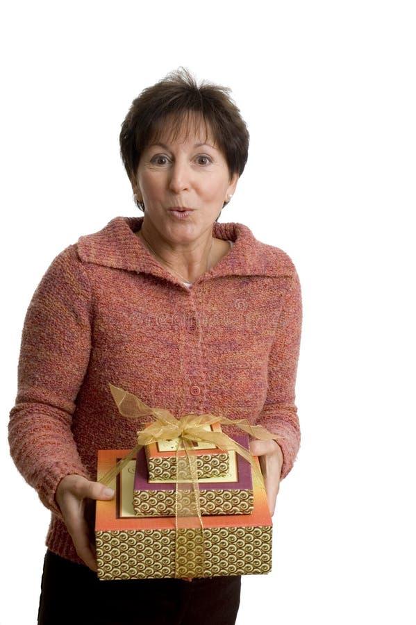 kobieta prezent obrazy stock