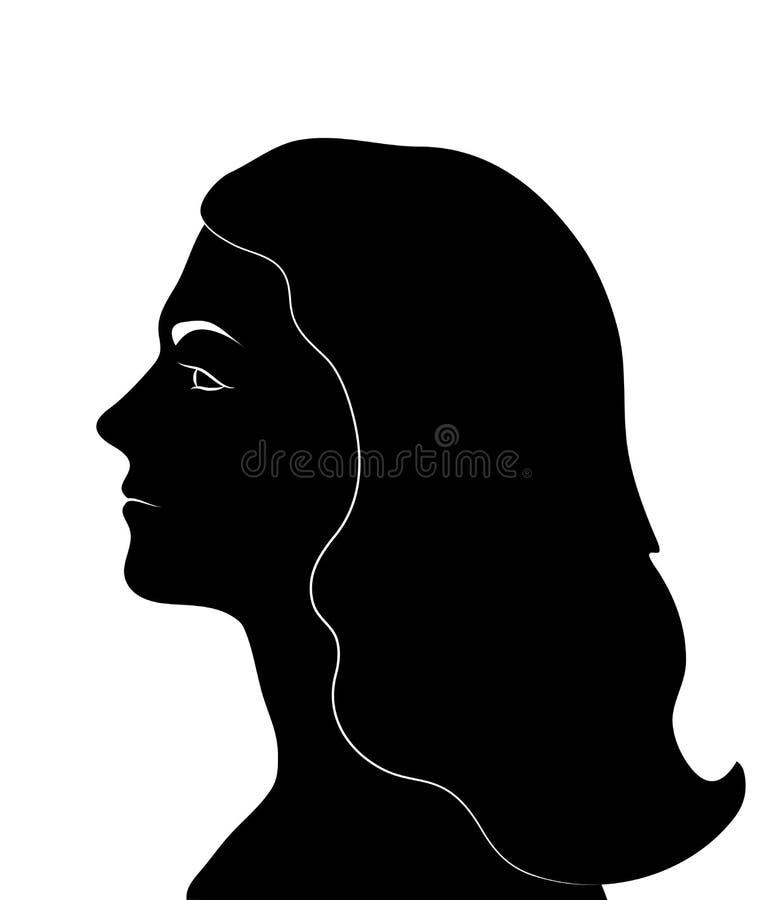 Kobieta profil Kobiety twarzy czerni sylwetka również zwrócić corel ilustracji wektora royalty ilustracja