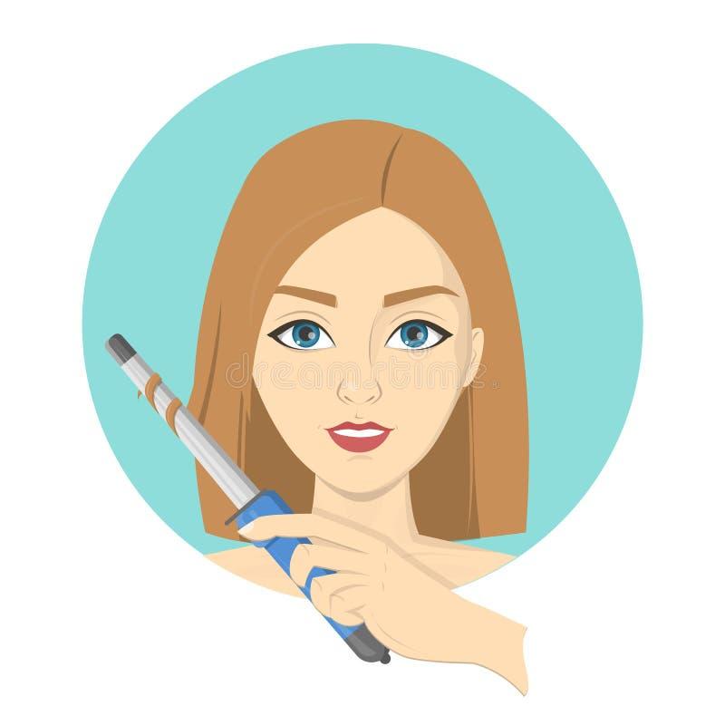 Kobieta projektuje jej włosy z fryzowania żelazem ilustracji