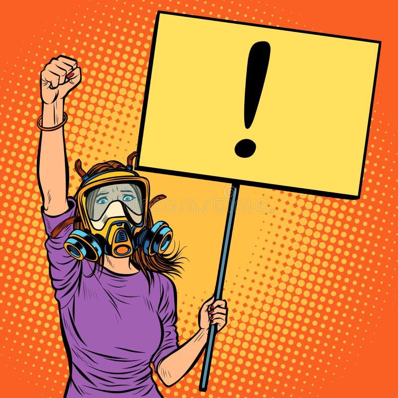 Kobieta protestuje przeciw zanieczyszczającemu powietrzu w masce gazowej środowiskowy ilustracja wektor