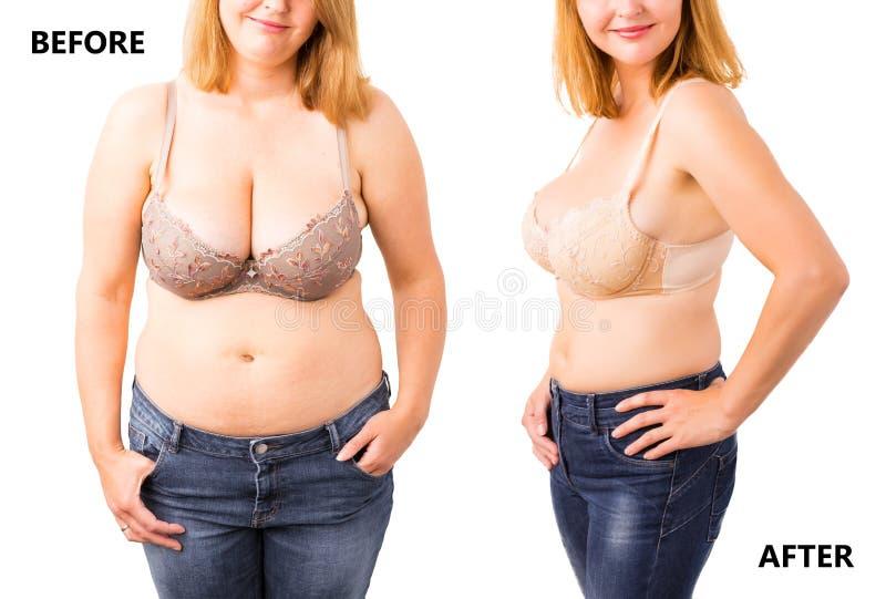 Kobieta przed i po dieting zdjęcie stock