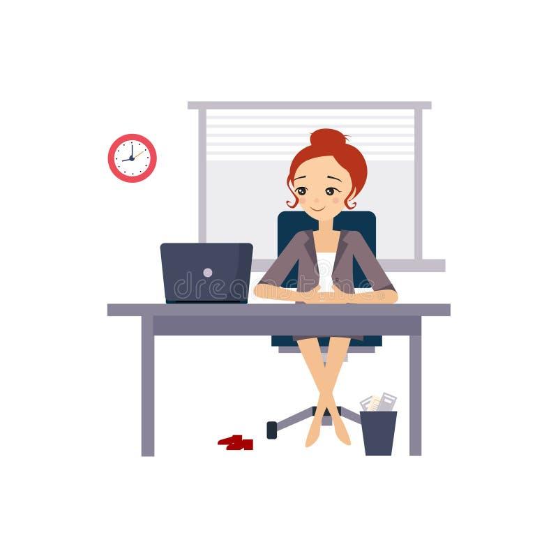 Kobieta przy biurem Dzienne Rutynowe aktywność kobiety royalty ilustracja