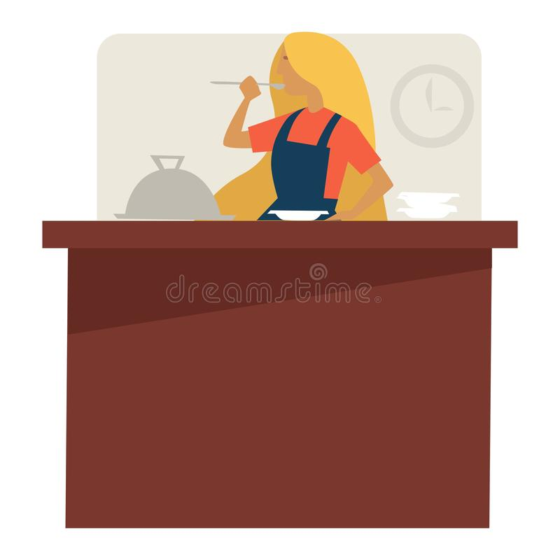Kobieta przy kulinarnymi klasami próbuje naczynie kulinarnego przepis ilustracja wektor