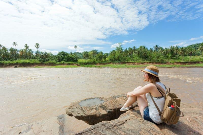 Kobieta przy Pinnawala, Sri Lanka obraz stock