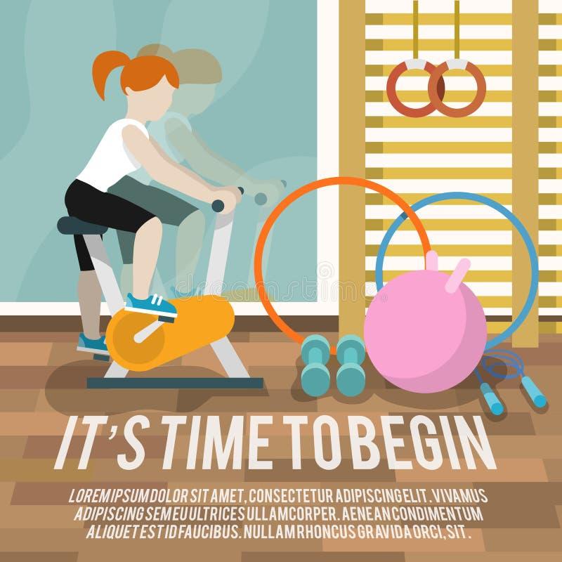 Kobieta przy sala gimnastycznej sprawności fizycznej plakatem ilustracja wektor
