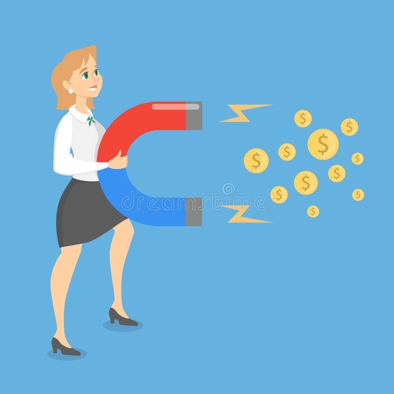 Kobieta przyciąga pieniądze ilustracji