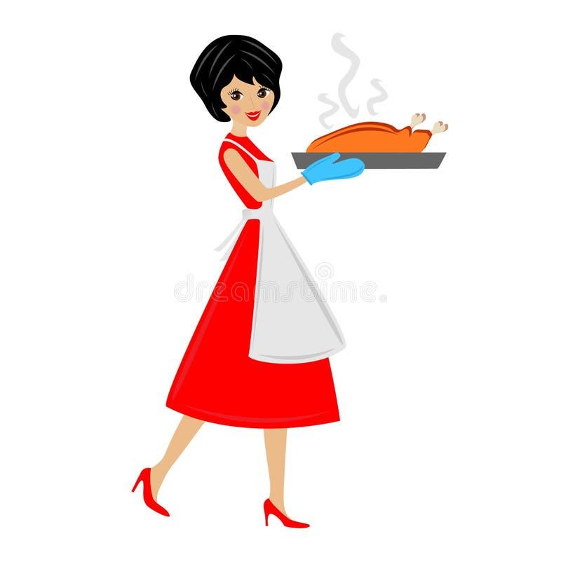 Kobieta przygotowywa pieczonego kurczaka royalty ilustracja