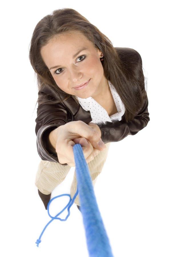 kobieta pullings liny zdjęcia stock