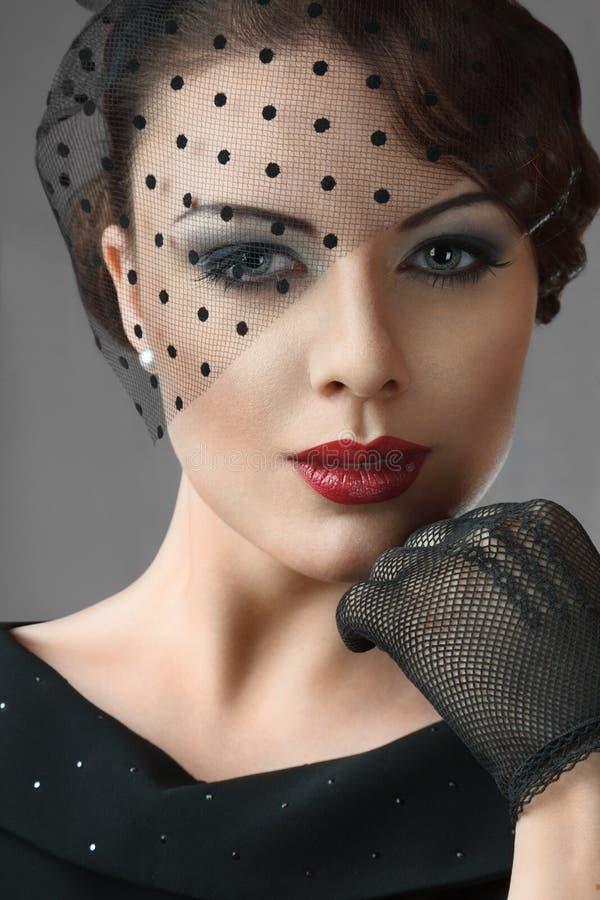 Kobieta retro stylowy portret zdjęcie royalty free