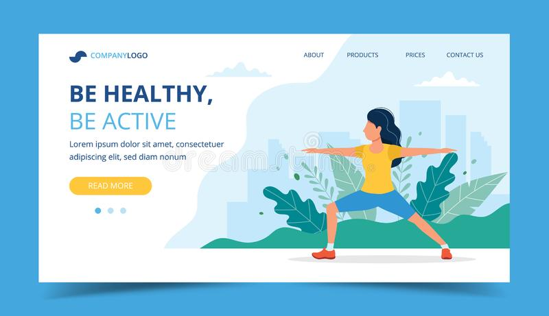 Kobieta robi ćwiczeniom w parkowej lądowanie stronie, pojęcie ilustracja dla zdrowego styl życia, plenerowe aktywność, ćwiczenie ilustracja wektor