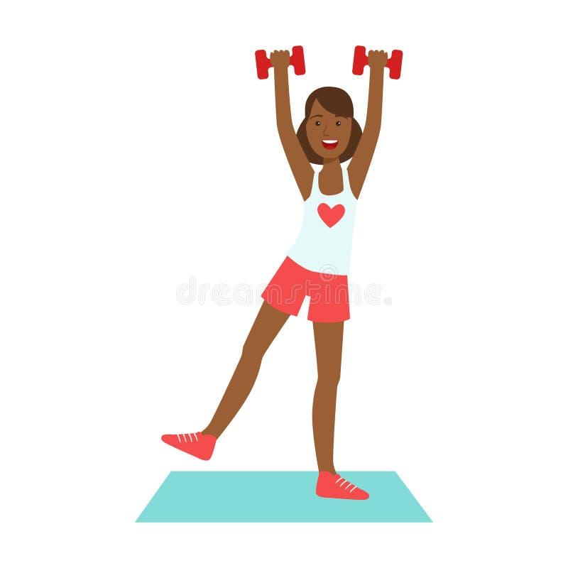 Kobieta robi ćwiczeniom z dumbbells ubierał w sportswear Kolorowy postać z kreskówki ilustracji