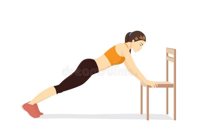 Kobieta robi biurowemu rozciąganiu ćwiczy z biurowymi krzesłami royalty ilustracja