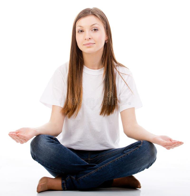 Kobieta robi joga zdjęcia royalty free