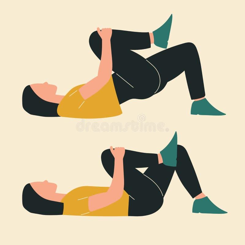 Kobieta robi kolanowemu zakładki biodra mostowi Ilustracje glute treningi i ćwiczenia P?aska wektorowa ilustracja royalty ilustracja