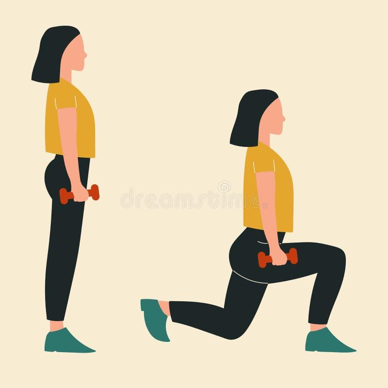 Kobieta Robi Lunges Ilustracje glute treningi i ćwiczenia P?aska wektorowa ilustracja royalty ilustracja