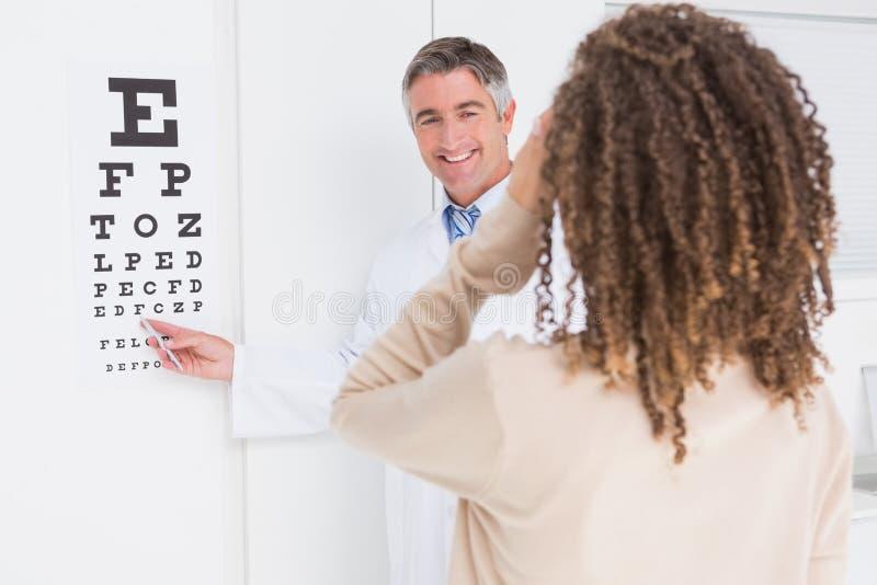 Kobieta robi oko testowi z optometrist zdjęcia stock