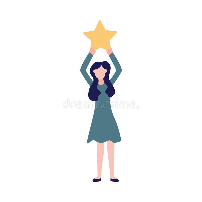 Kobieta robi przeglądowi ilość podnosi gwiazdowego szyldowego wektor usługa ilustracji