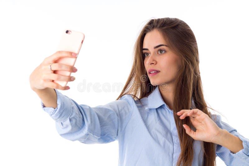 Kobieta robi selfie zdjęcie royalty free