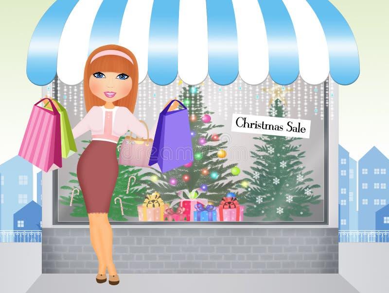 Kobieta robi zakupom dla Bożenarodzeniowych teraźniejszość ilustracja wektor