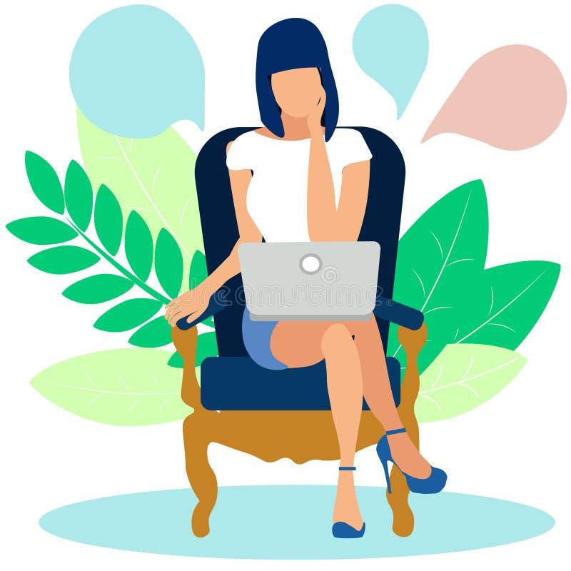 Kobieta rozpamiętywa rozwiązanie problem za laptopem W minimalisty stylu kresk?wki mieszkania wektorze ilustracja wektor