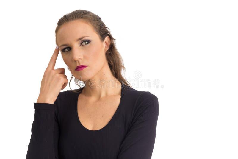 Kobieta rozpamiętywa Zielonych oczy Odizolowywający na białym backgr fotografia royalty free