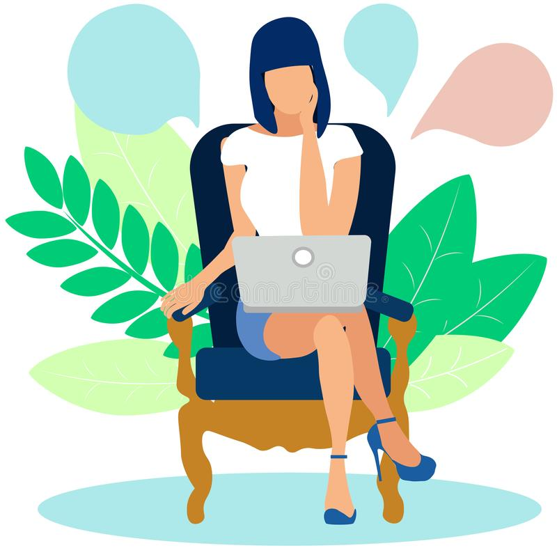 Kobieta rozpami?tywa rozwi?zanie problem za laptopem W minimalisty stylu kreskówki mieszkania raster ilustracji