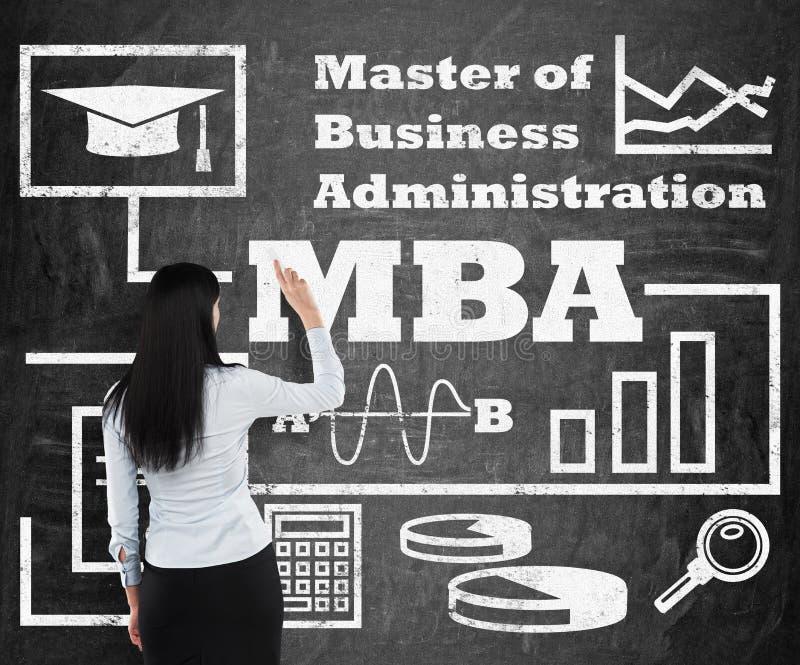 Kobieta rysuje flowchart o MBA stopniu na czarnej kredowej desce obrazy stock