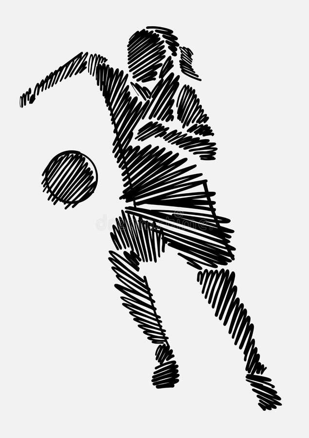 Kobieta rysunku nakreślenie pokazuje żeńskiego upełnomocnienie w meczu piłkarskim obrazy stock