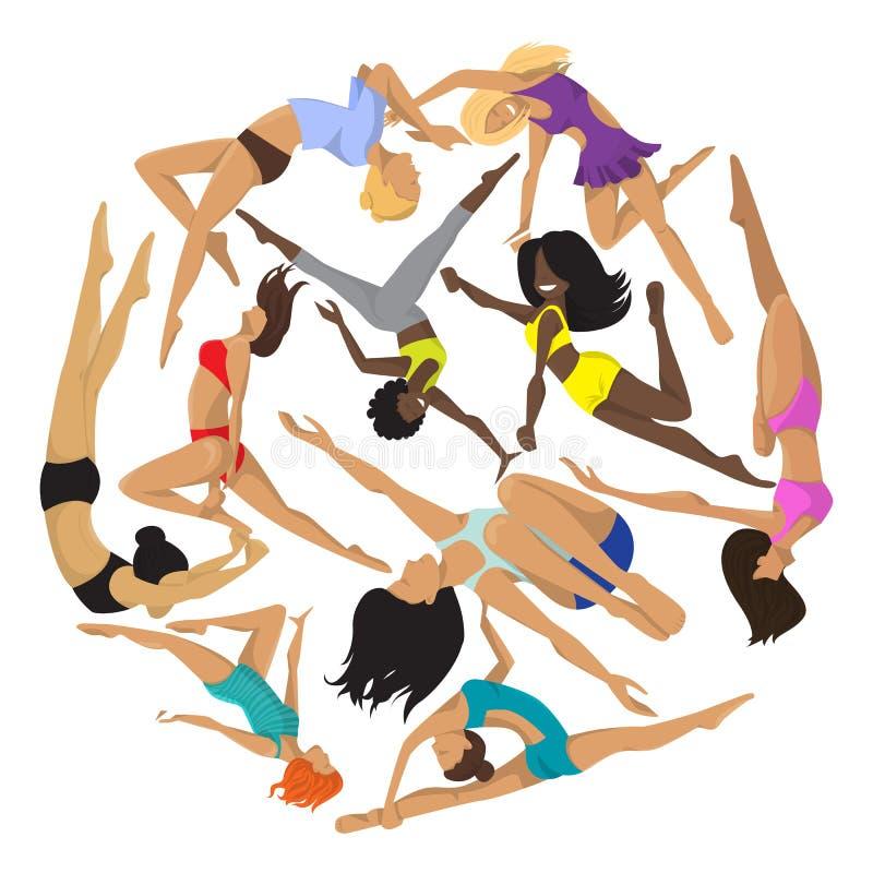 Kobieta słupa round dancingowego pracownianego wzoru seksowna żeńska wektorowa ilustracja Fachowa zmysłowości istota ludzka silna ilustracji