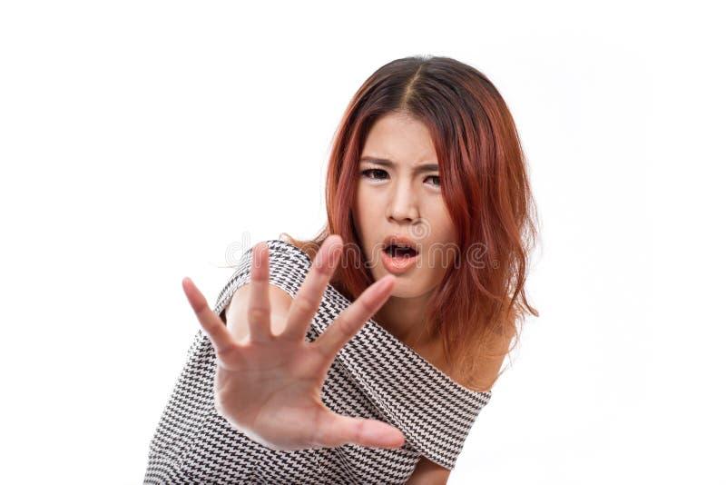 Kobieta seansu przerwa, odrzut, odmówić, zakazuje, negatywny ręka znak fotografia royalty free
