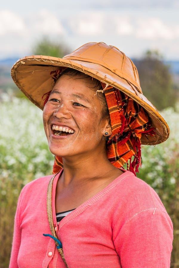 Kobieta shanu plemienia portret Myanmar obraz royalty free