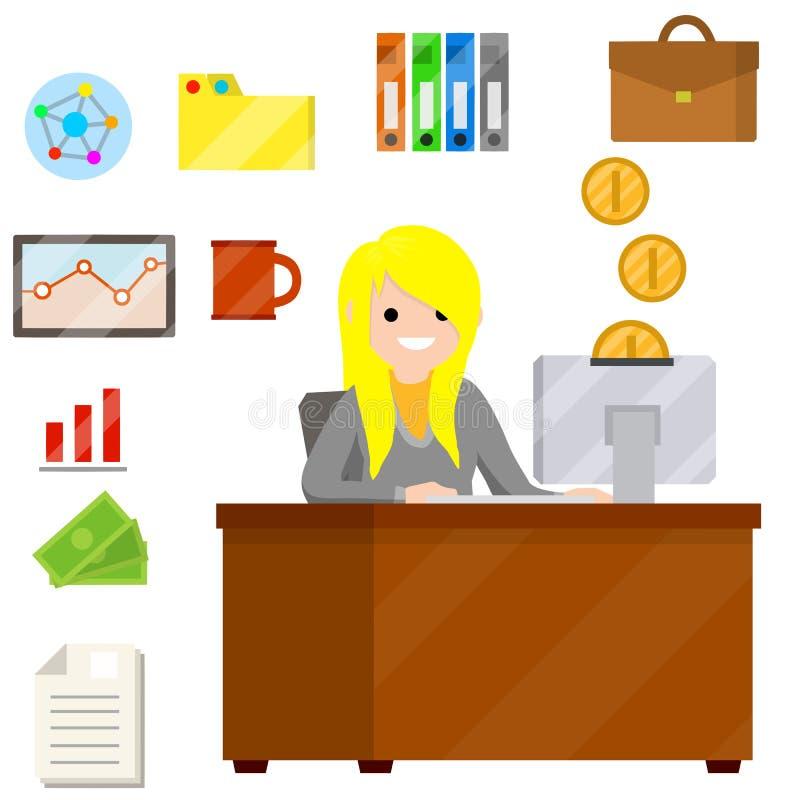 Kobieta siedzi przy biurkiem z komputerem i pisać na maszynie wiadomością tekstową w biurze royalty ilustracja