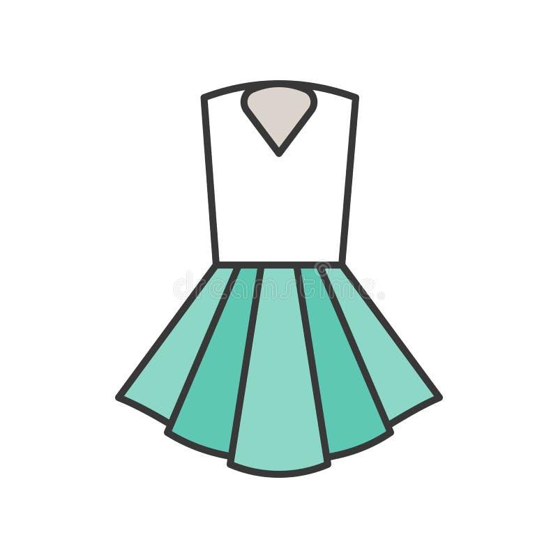 Kobieta skrótu suknia, wypełniający koloru konturu editable uderzenie ilustracji
