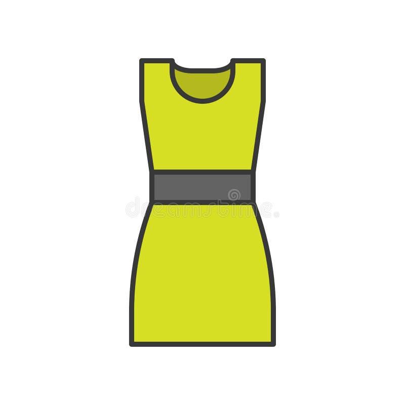 Kobieta skrótu suknia, wypełniający koloru konturu editable uderzenie royalty ilustracja