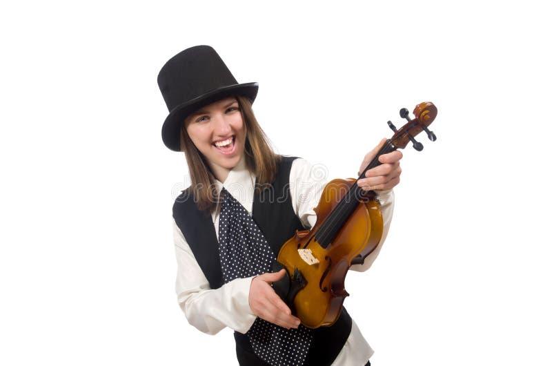 Kobieta skrzypcowy gracz odizolowywający na bielu obraz stock