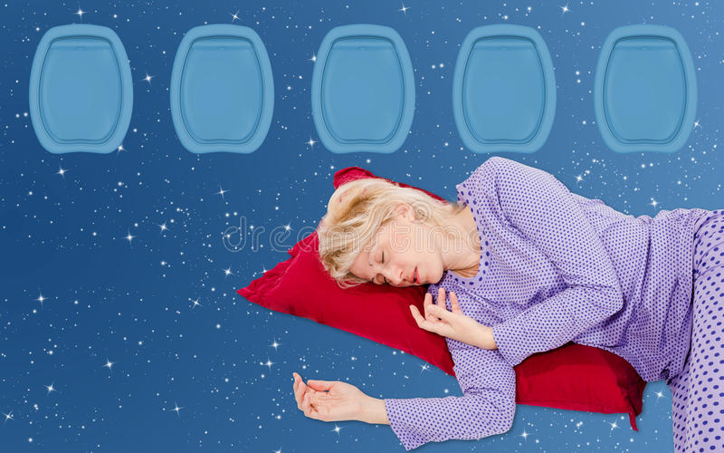 Kobieta Sleeaping na locie fotografia royalty free