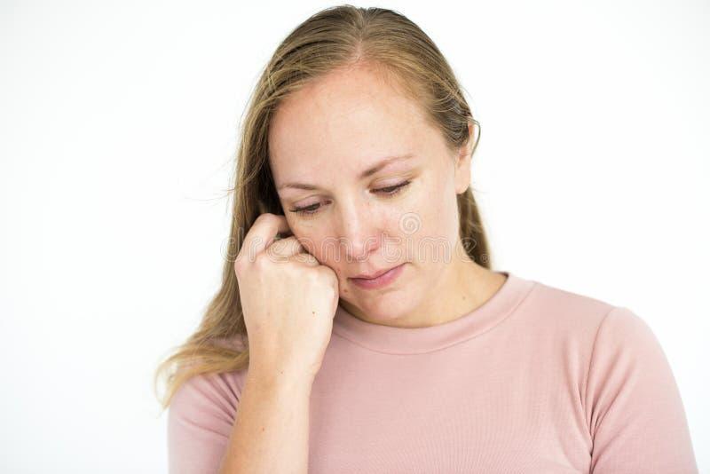 Kobieta Smutny płacz Deprymuje portreta pojęcie obrazy royalty free