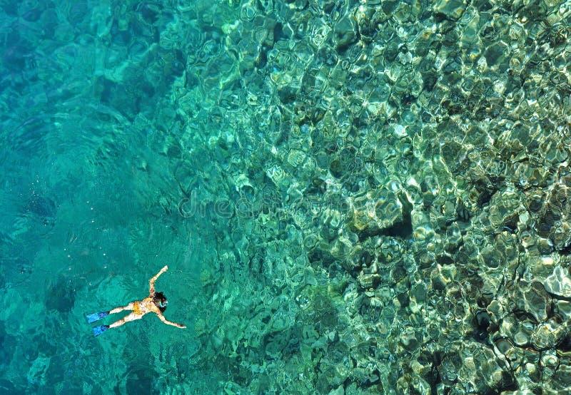 Kobieta snorkeling w wodzie morskiej widok z lotu ptaka zdjęcie royalty free