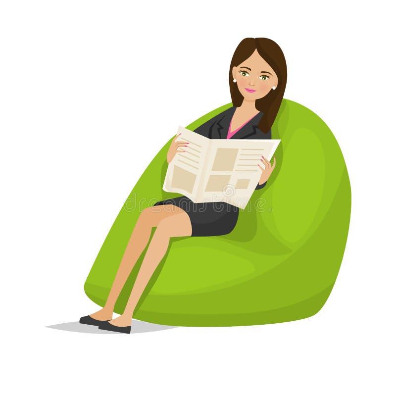 Kobieta specjalista, odpoczywa, relaksuje, z gazetą w rękach na karle ilustracji