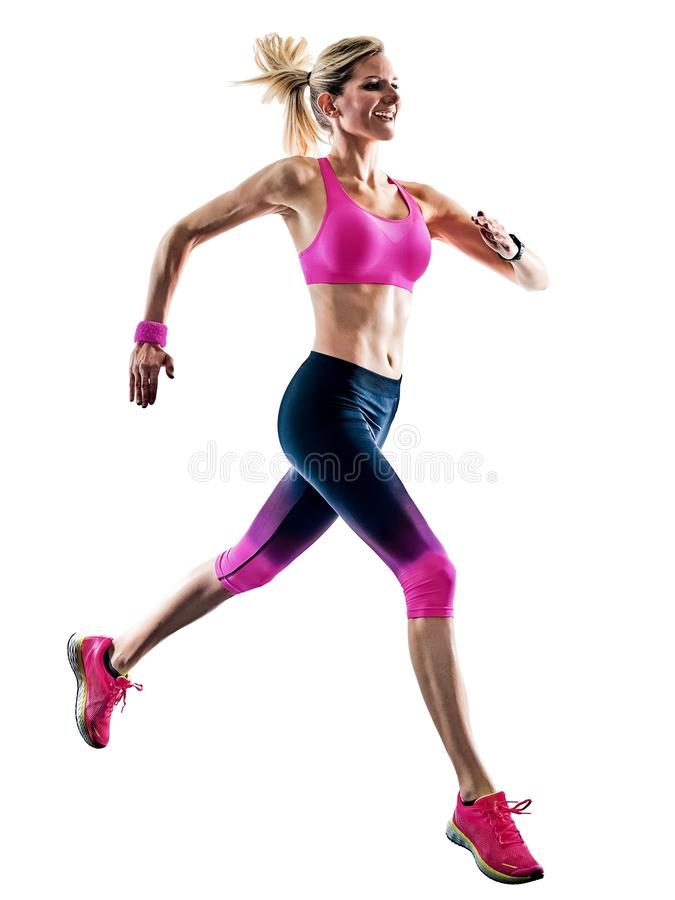 Kobieta sporta biegacza działający jogger jogging odosobnionego białego backgro zdjęcie stock
