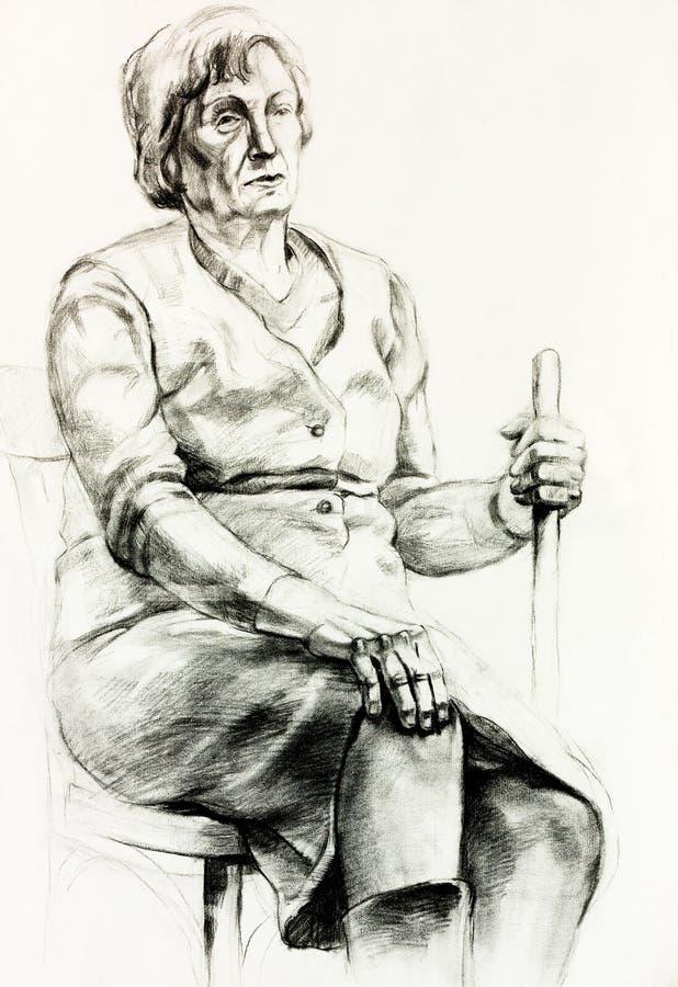 Kobieta starszy portret ilustracji