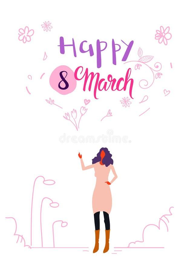 Kobieta stoi plenerowego szczęśliwego kobieta dnia 8 marszu świętowania międzynarodowego wakacyjnego pojęcia żeńskiego charakteru royalty ilustracja