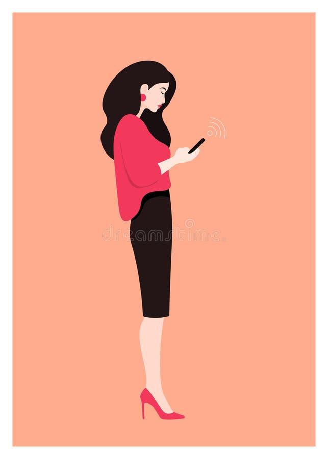 Kobieta stoi w profilu Wektorowa płaska ilustracja zdjęcie stock
