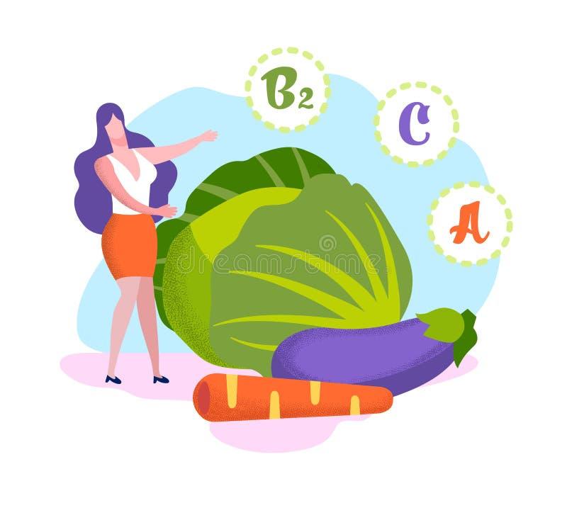 Kobieta stojak przy Ogromnymi warzywo witaminami w produkcie royalty ilustracja