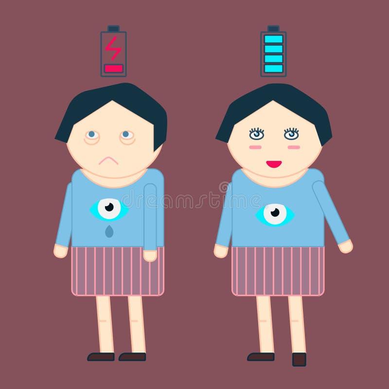 Kobieta stojak w izbowym cierpieniu od bezsenność ilustracji