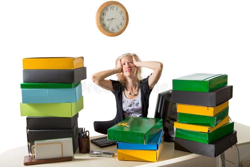 Kobieta Stresująca się: Ostateczny termin Dzisiaj zdjęcia stock