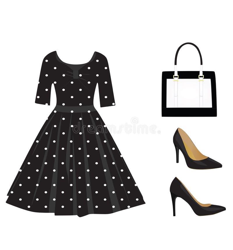 Kobieta stroju czarny set ilustracji
